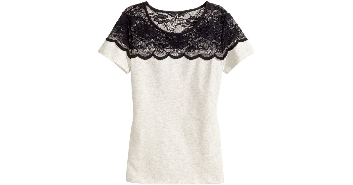 b8215370434d18 H&M Jersey Top With Lace in Gray - Lyst