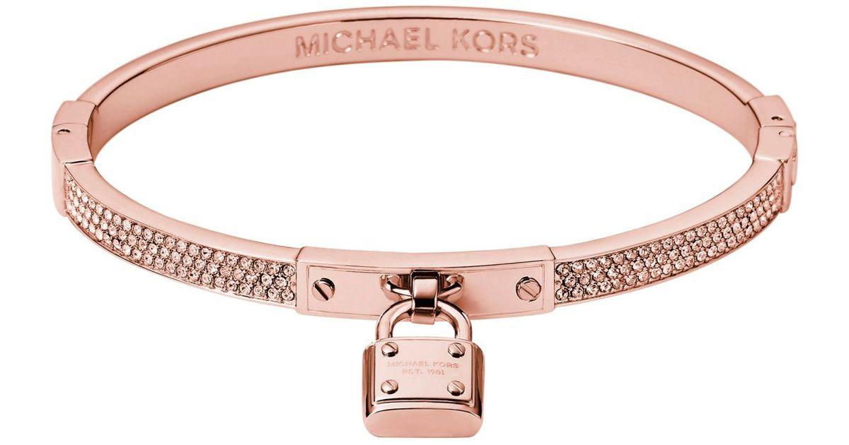 Lyst Michael Kors Pav Padlock Rose Goldtone Bracelet in Pink