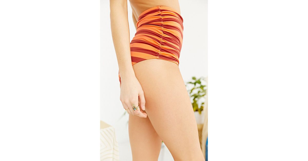 2adf732896e7cb Lyst - Out From Under Printed Ruched High-Waist Bikini Bottom in Orange