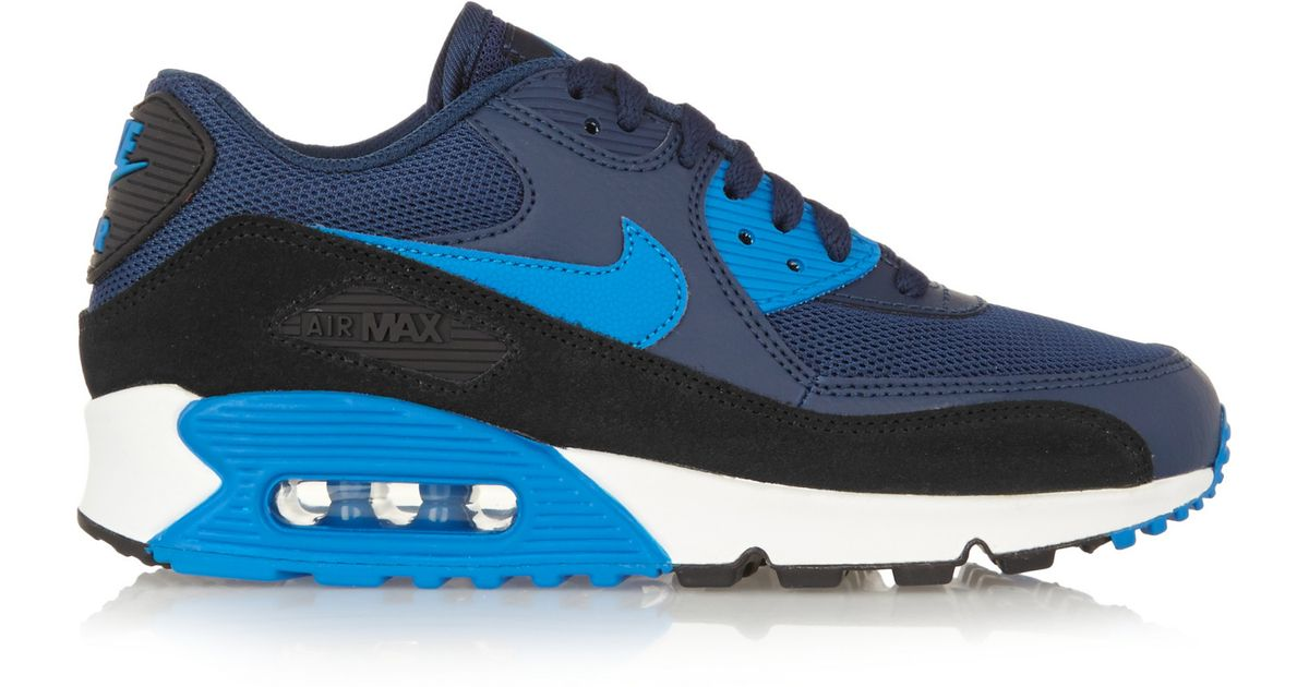 nike air max 90 essential leather mesh rubber and suede sneakers in blue lyst