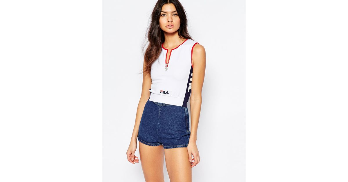 fila fitted crop top with zip front detail in blue lyst. Black Bedroom Furniture Sets. Home Design Ideas