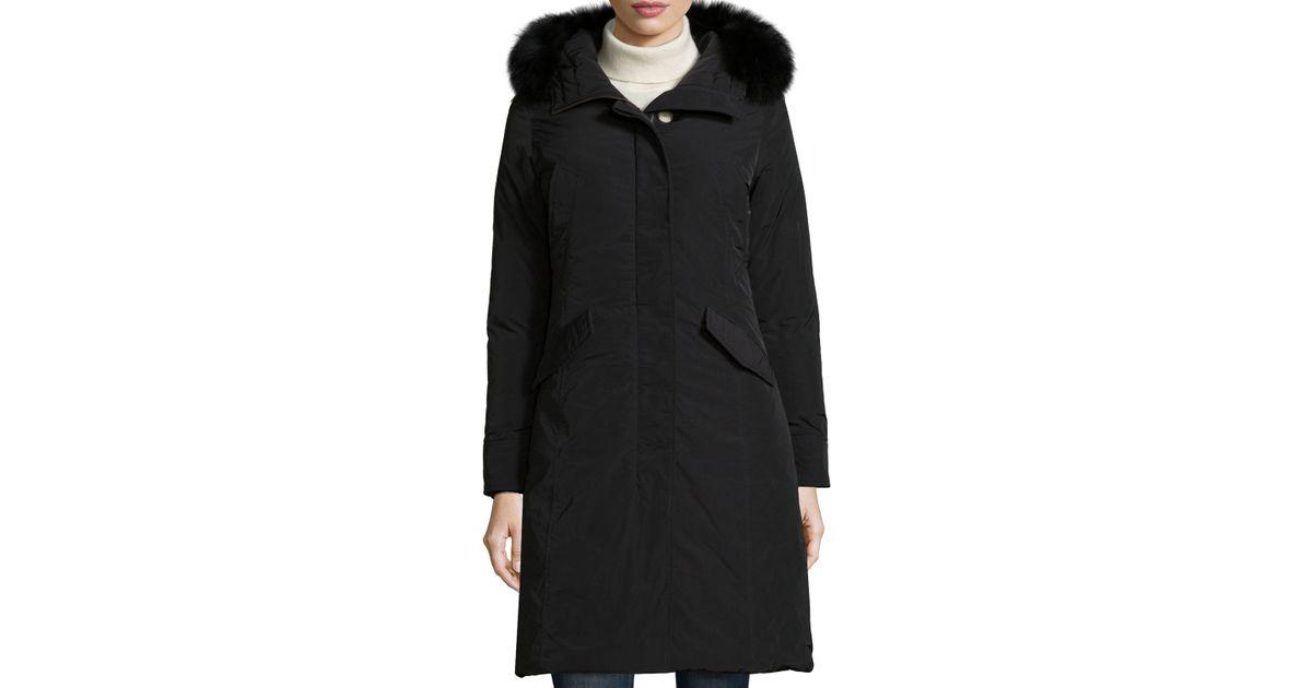 Fur Woolrich Lyst Luxury Black Long W Parka Hood xqqX7Tpr