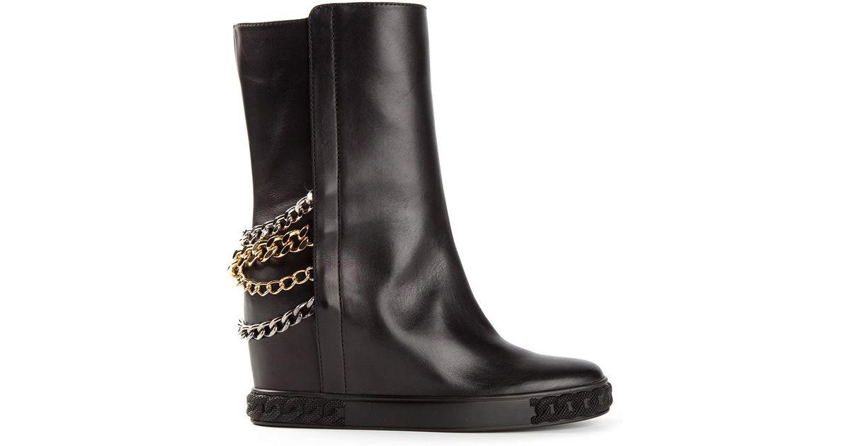 Trimmed Chain Lyst Boots Black Casadei In Ow0fnfEAq