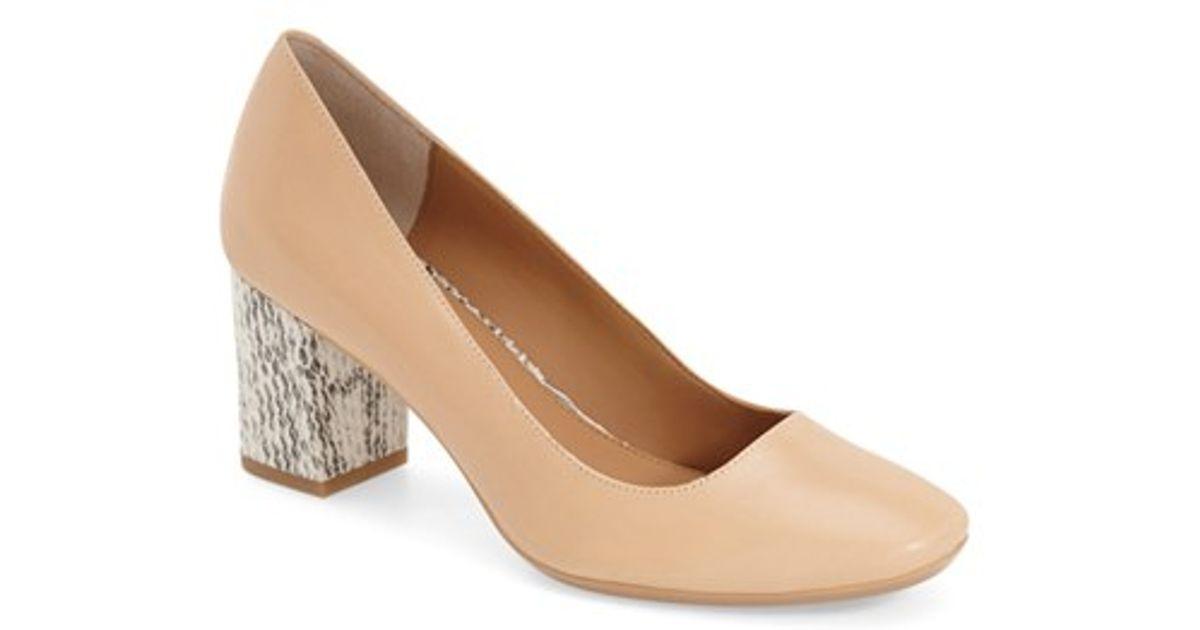 6fd2b095dd Lyst - Calvin Klein 'cirilla' Block Heel Pump in Natural