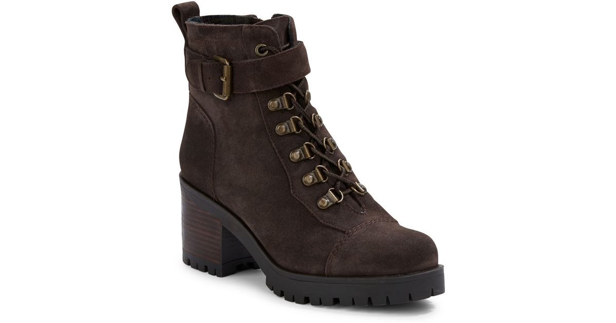 Nine West Ursula Suede Booties In Brown Lyst