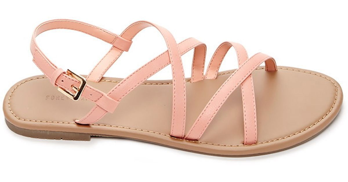 Forever 21 Crisscross Faux Leather Sandals in Blue - Lyst 7cbf5a99a729