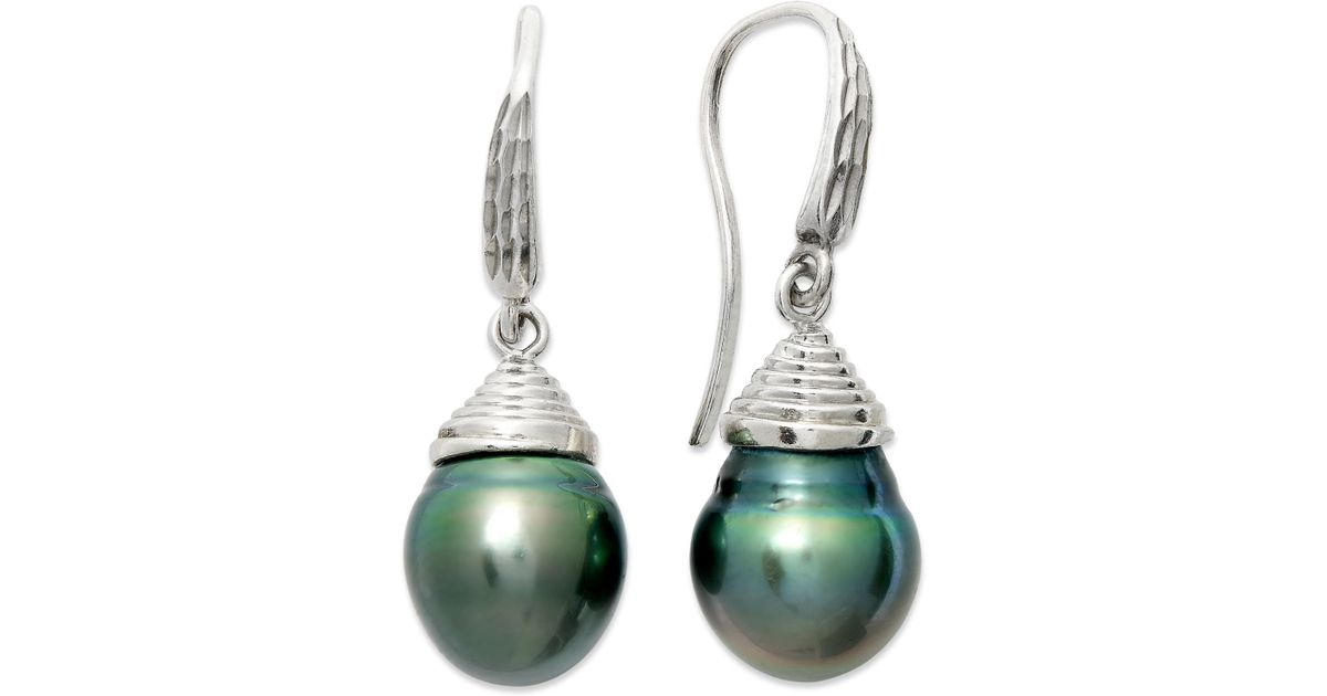 macy s pearl earrings macy s pearl earrings sterling silver cultured tahitian 9484