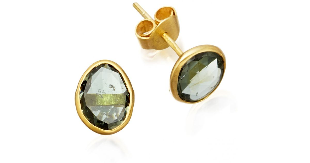 tourmaline e warburton earrings piece gold yellow green stud austin