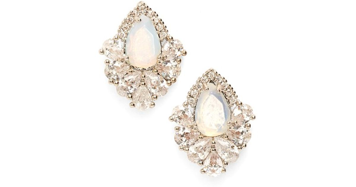 Lyst Samantha Wills Fields Of Gold Stud Earrings Moonstone Silver In White