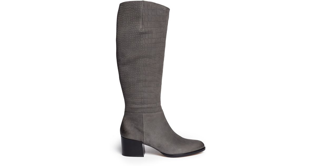 1082b41ab0d68 Sam Edelman  joelle  Croc Embossed Suede Boots in Gray - Lyst