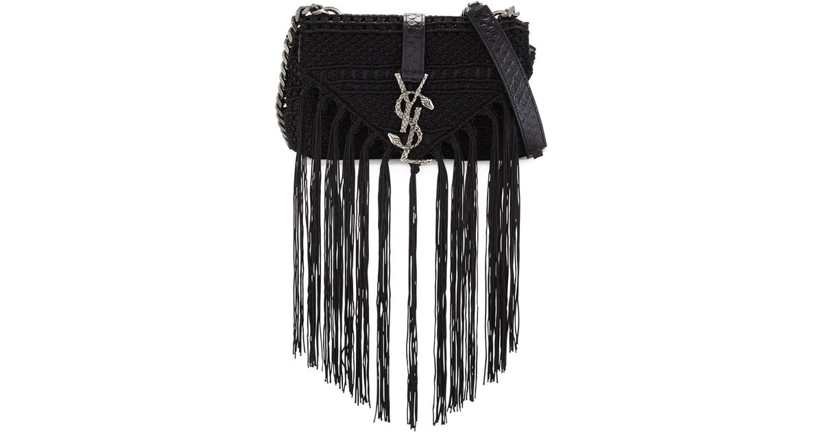 01d646e189 Lyst - Saint Laurent Monogram Baby Chain Serpent Crochet Crossbody Bag in  Black
