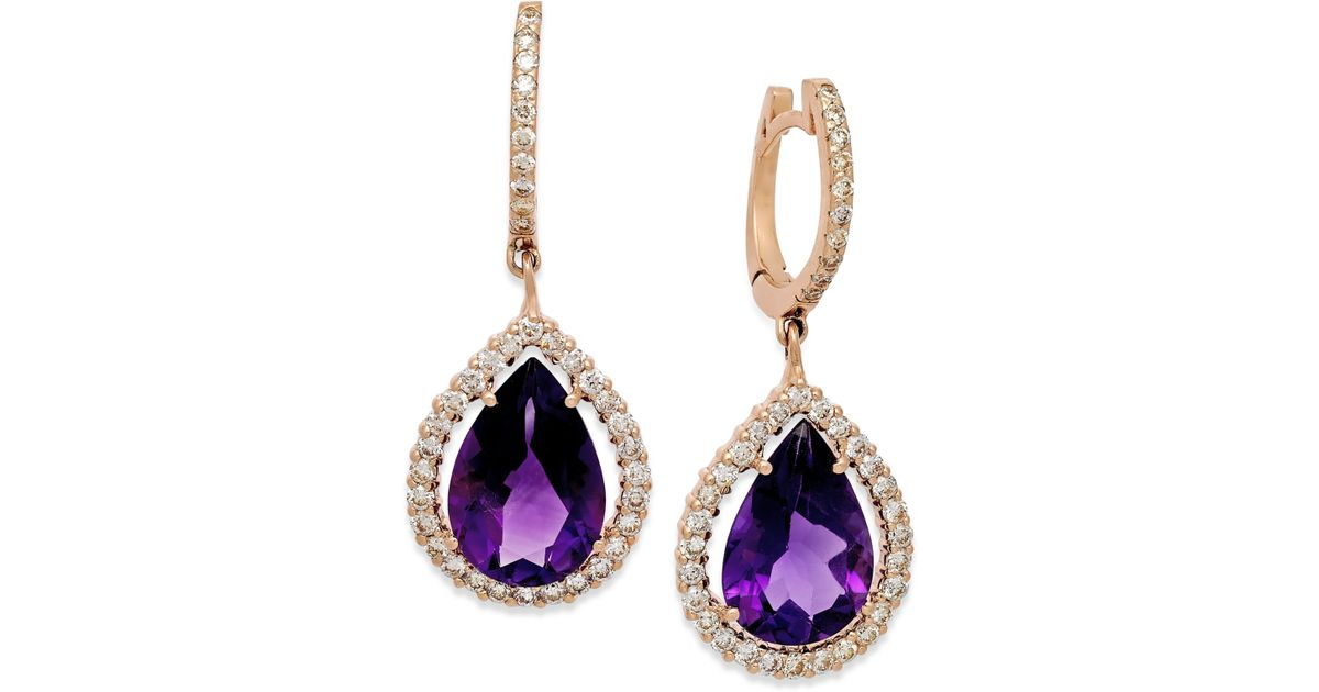 macy s amethyst earrings macy s amethyst 6 ct t w and 3 4 ct t w 7933