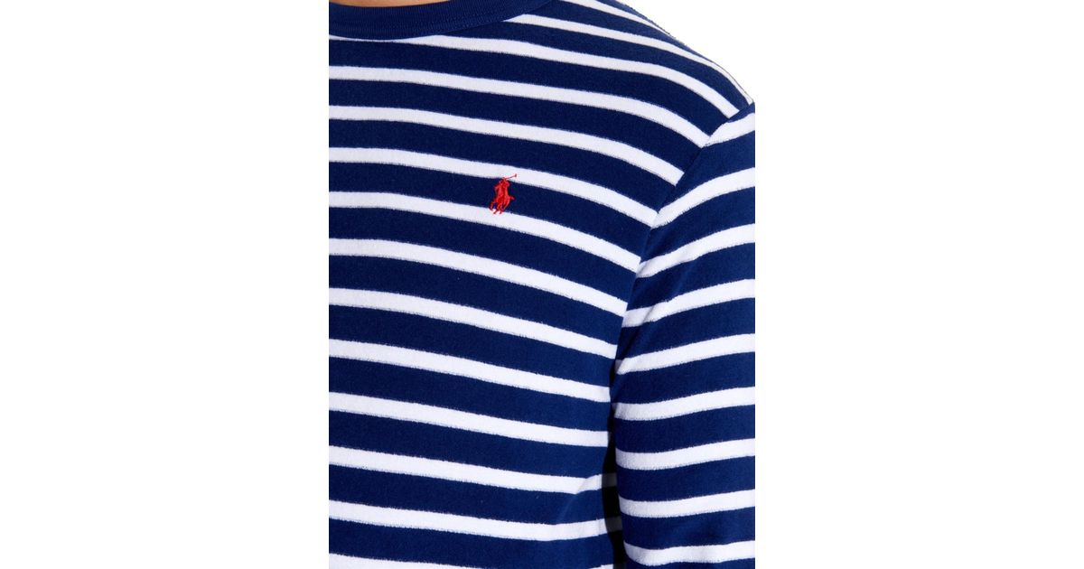 9ebb907f6ecf3a Polo Ralph Lauren Striped Terry-Towelling Long-Sleeved T-Shirt in Blue for  Men - Lyst