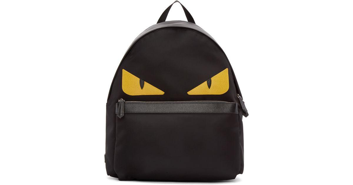 Lyst - Fendi Black Nylon Monster Backpack in Black for Men dcedc2873ae66