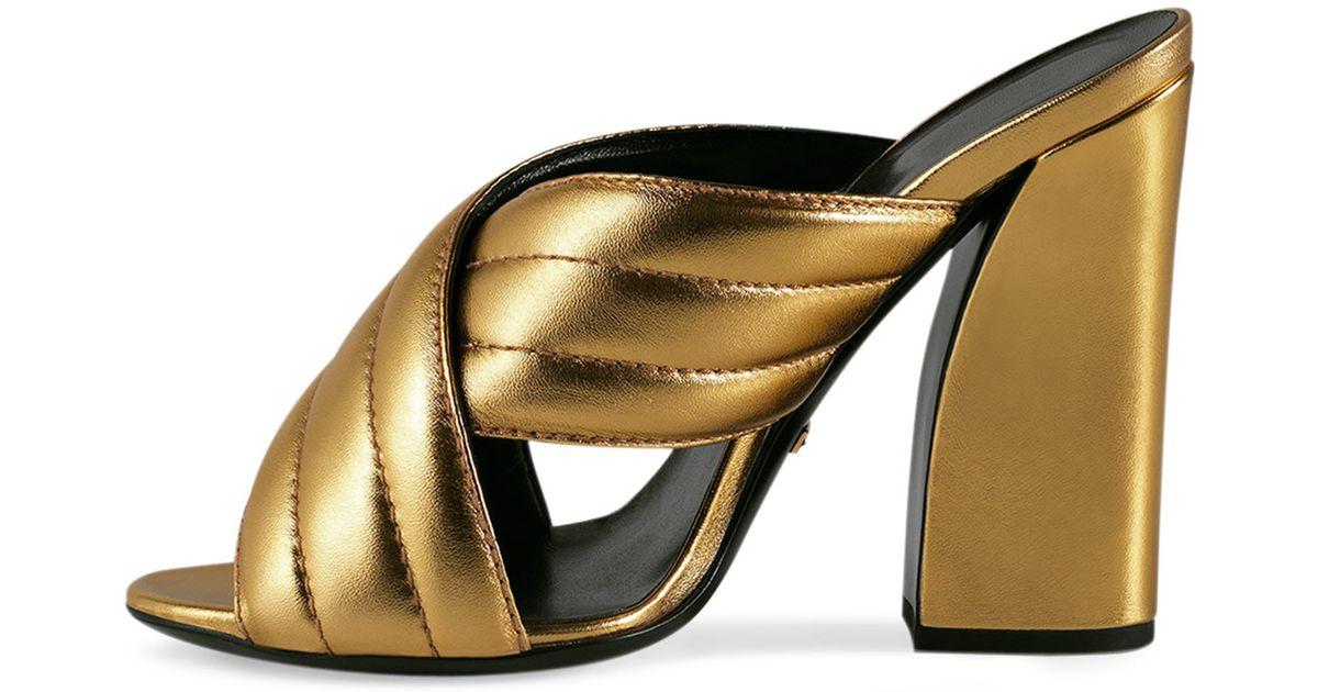 0da7641a20c Lyst - Gucci Webby Leather Sandals in Metallic