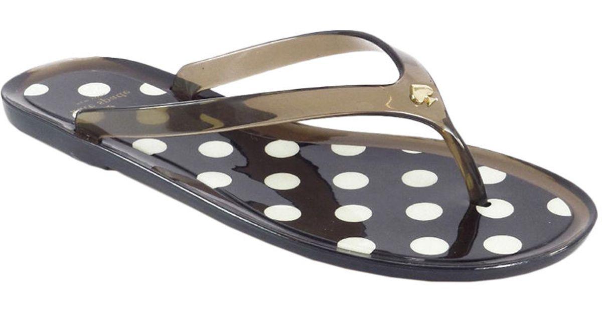 Kate Spade Rubber Janela Polka Dot Thong Sandals In Smoke -7747