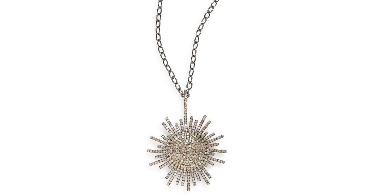 Lyst bavna 557 tcw pav diamond sterling silver sunburst pendant lyst bavna 557 tcw pav diamond sterling silver sunburst pendant necklace in metallic aloadofball Images