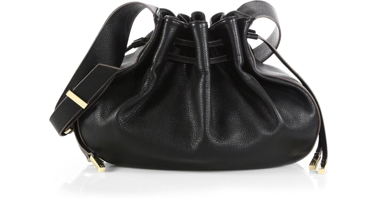 94f663f76a Lyst - Halston Bianca Large Drawstring Bucket Bag in Black