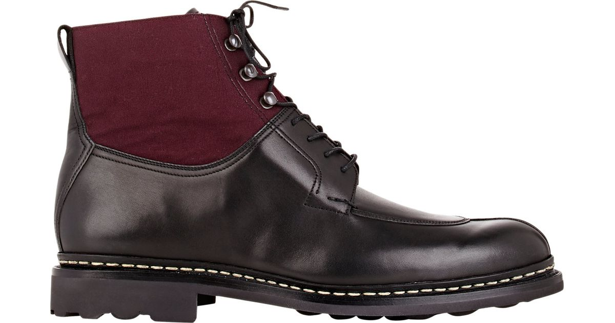 heschung s leather canvas ginko boots in black for
