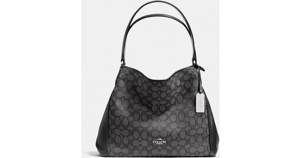 a9f3f0475b69 Lyst - COACH Edie Shoulder Bag 31 In Signature Jacquard in Black