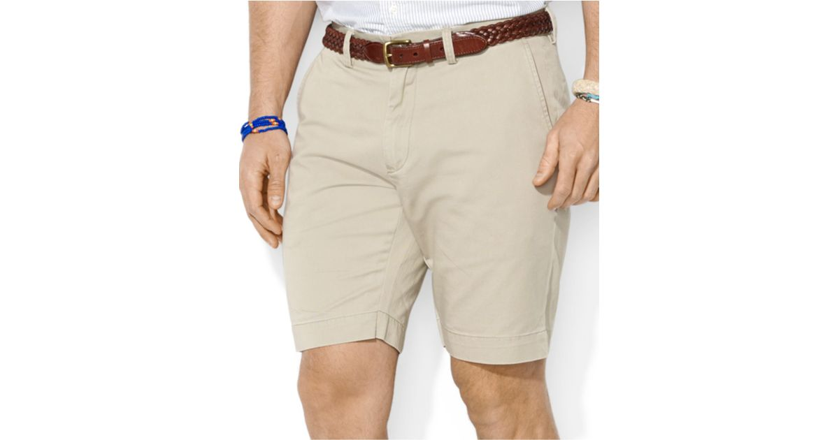Lyst - Polo Ralph Lauren Classic-fit Flat-front Chino Shorts in Brown for  Men
