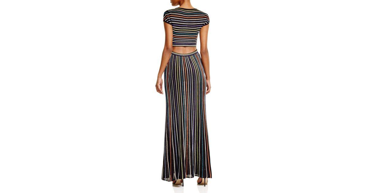 Lyst - M Missoni Metallic Micro Stripe Maxi Dress in Black