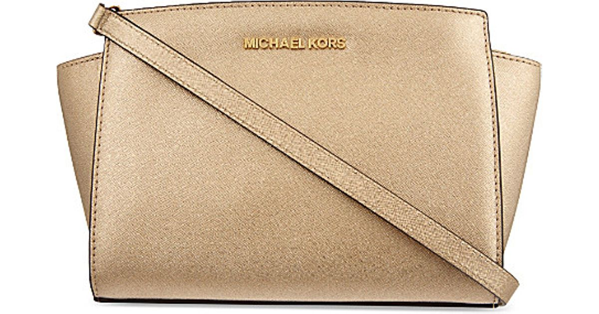 8e877b4886b18 Lyst - MICHAEL Michael Kors Selma Medium Messenger Bag in Natural