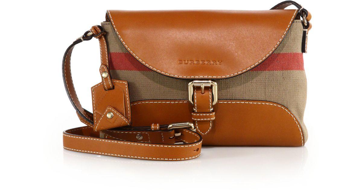 70d6db08f Burberry Small Leather & Canvas Check Henham Crossbody Bag in Brown - Lyst