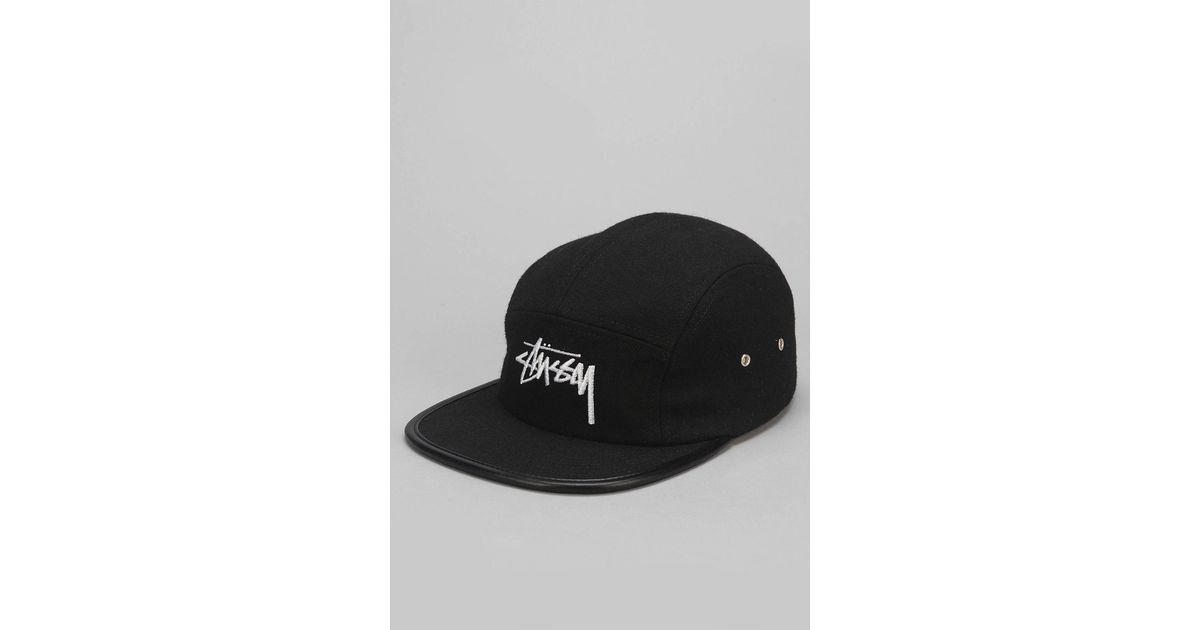 4e99acb1 ... coupon code lyst stussy melton wool 5 panel hat in black for men 261a0  08972