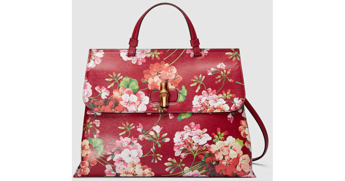 Lyst Gucci Red And Pink Blooms Leather Clic Bamboo Top Handle Bag In Red.  Lyst Gucci Red And Pink Blooms Leather Clic Bamboo Top Handle c81a55204d05e