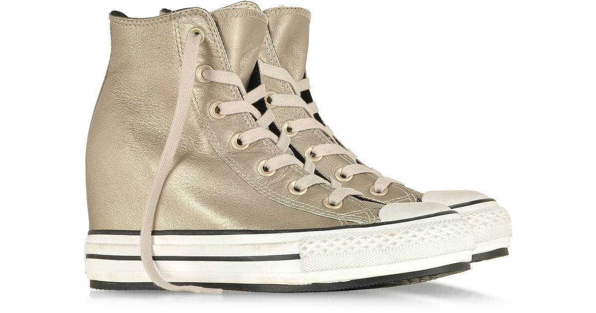 3f26459aa566 Converse - Metallic All Star Hi Platinum Leather Wedge Sneaker - Lyst
