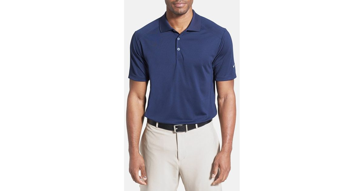 Lyst nike dri fit 39 victory 39 golf polo in blue for men for Nike dri fit victory golf shirts