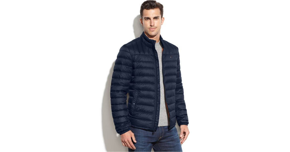 Tommy Hilfiger Quilted Packable Down Puffer In Blue For
