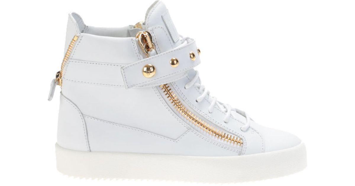giuseppe zanotti white leather high top sneakers in white