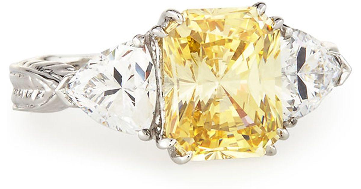 Fantasia Emerald-Cut Canary CZ Crystal Ring R6yfKzAvWV