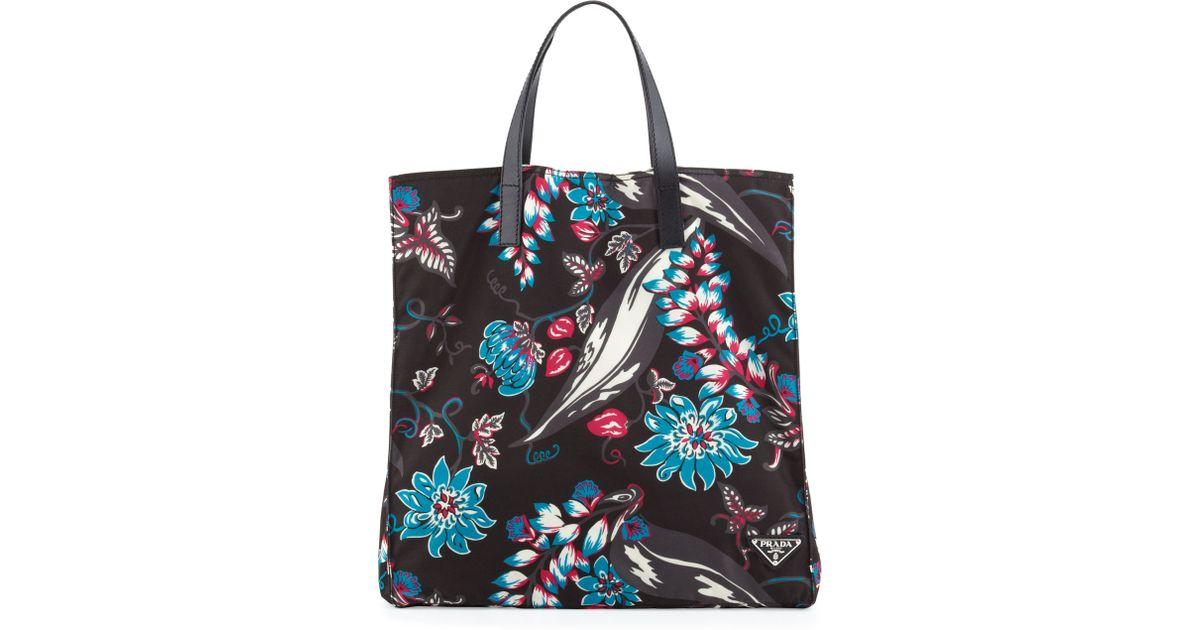 39ac7c742108 Prada Mens Floral Nylon Tote Bag for Men - Lyst