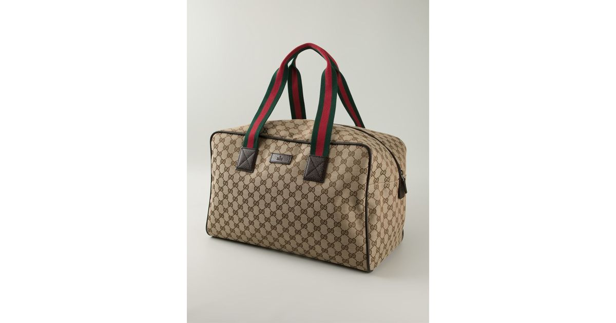 28075ca4414e Gucci Signature Monogram Weekender Luggage in Natural for Men - Lyst