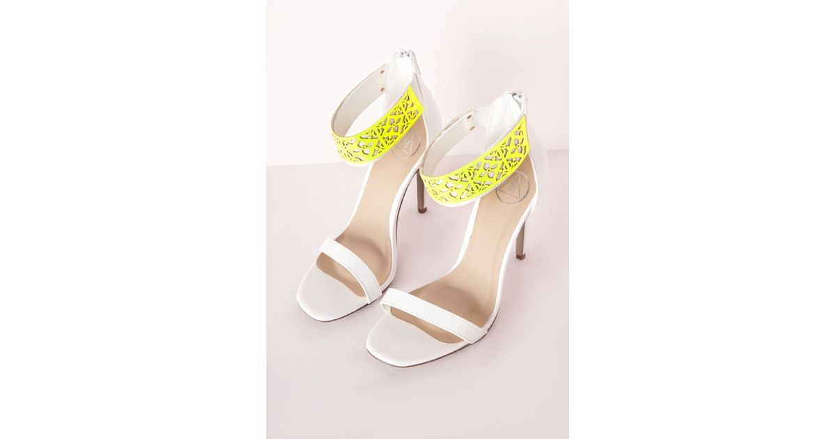 c1ccfabf709e Lyst - Missguided Laser Cut Barely There Heeled Sandals White in White