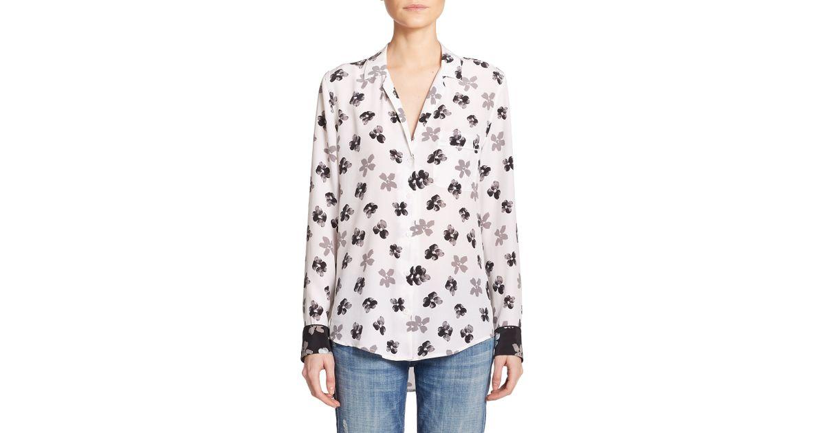 832e76dad407f9 Lyst - Equipment Keira Silk Floral-print Shirt in White
