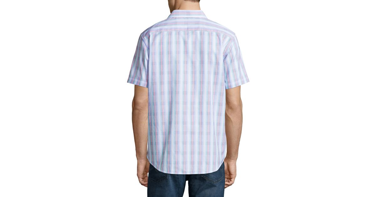 75961613 Robert Graham Iolani Palace Strpied Short-sleeve Sport Shirt in Blue for  Men - Lyst