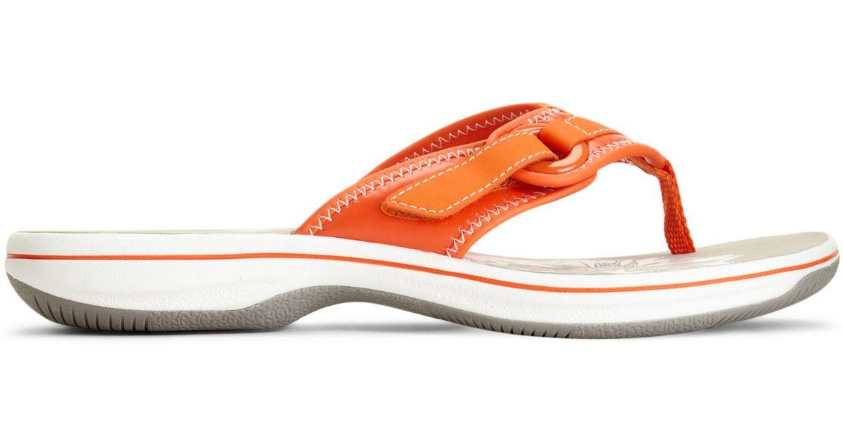90ed45c27c6 Lyst - Clarks Womens Shoes Breeze Mila Flip Flops in Orange