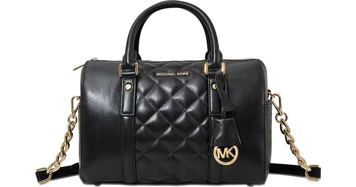fb16927015e4 ... closeout michael michael kors grayson medium chain satchel in black  lyst 384af 1ee47