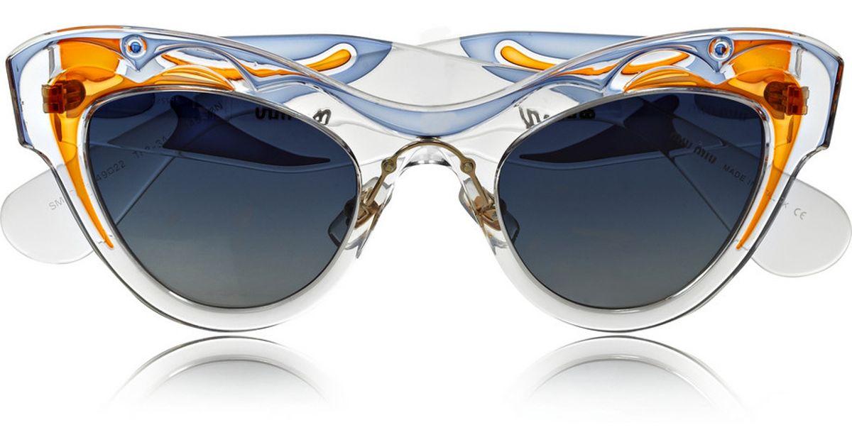 0cebf32c8119 Lyst - Miu Miu Painted Cat Eye Acetate Sunglasses