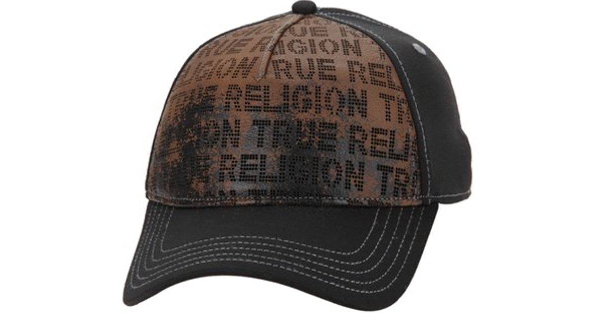 33dfdc45e True Religion - Black Perforated Leather Front Baseball Cap - Lyst