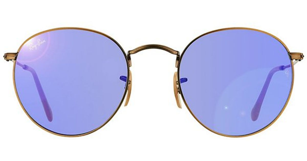 536acf491ab Lyst - Ray-Ban Rb 3447 167 68 Brushed Bronze Round Metal Sunglasses in  Metallic