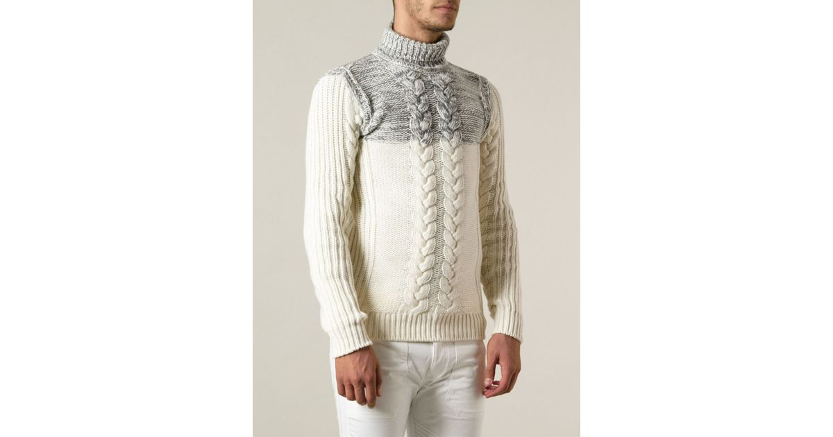 Diesel Cable Knit Turtleneck Sweater in White for Men | Lyst