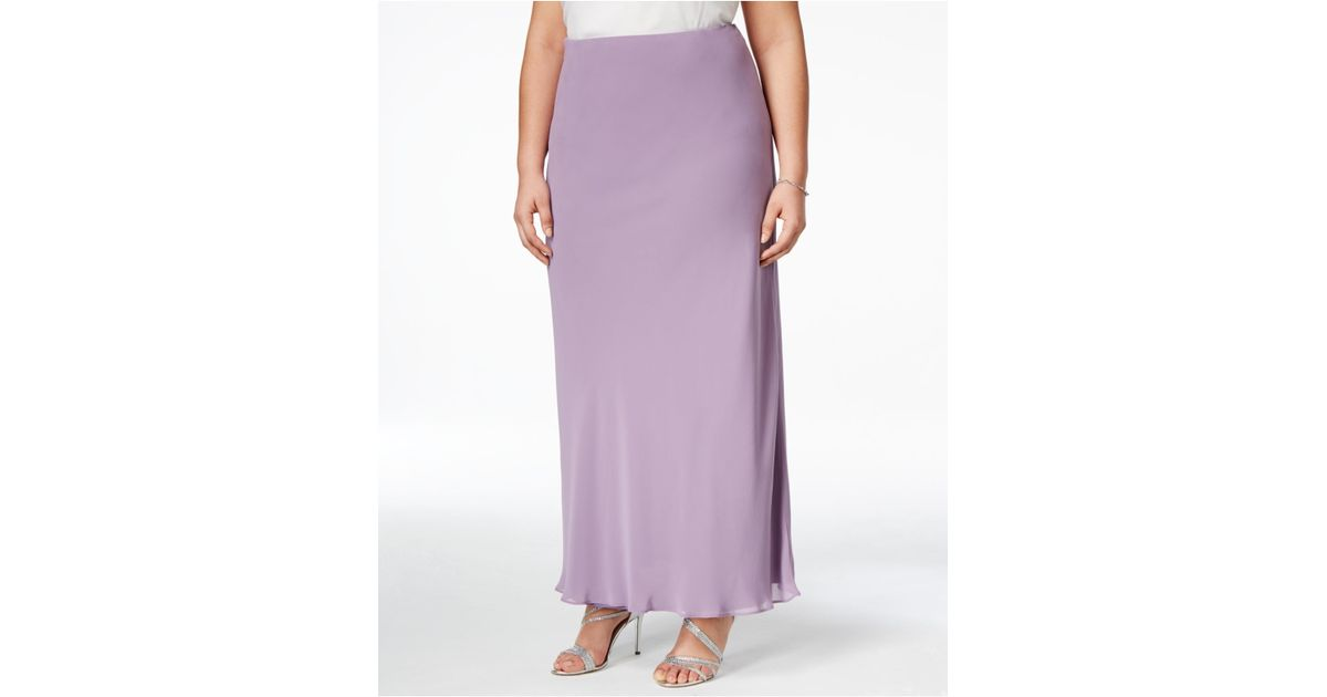 alex evenings plus size evening maxi skirt in purple icy