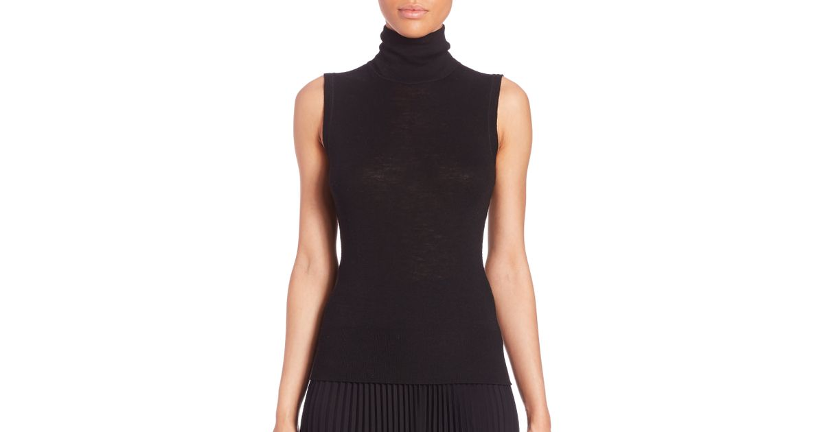 52c5a483a2d89 Lyst - Rag   Bone Briony Sleeveless Turtleneck Top in Black