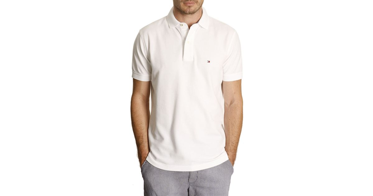 tommy hilfiger white slim fit pique stretch polo shirt in white for. Black Bedroom Furniture Sets. Home Design Ideas