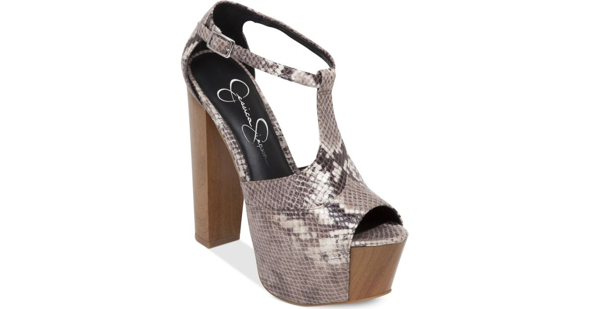 618abb19ac9 Lyst - Jessica Simpson Dany T-Strap Platform Sandals in Brown
